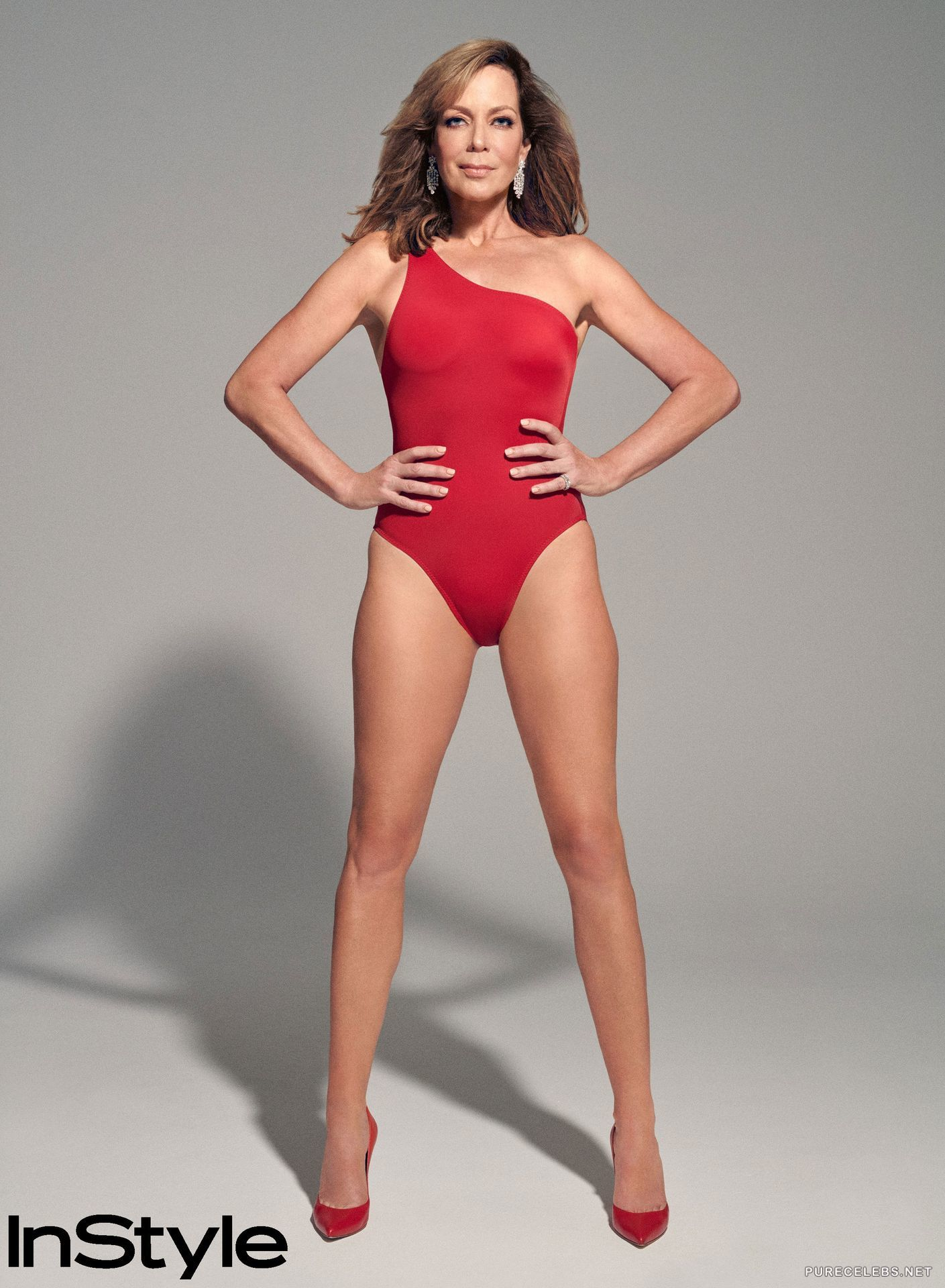 Allison Janney Posing Sexy In Red Swimsuit For InStyle
